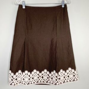 Talbots Skirt  Brown Cream Crochet Lace Side Zip 4